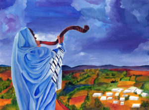 A Jew sounding the Shofar. The voice of the Shofar is heard by the entire village.